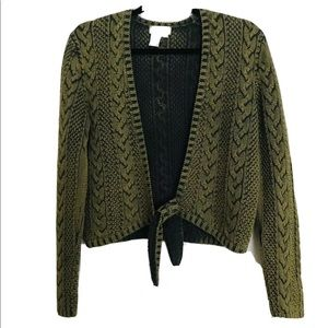 The Territory Head Green Cable Knit Tie Sweater